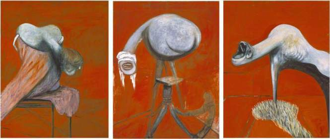 Bacon, Francis, 1909-1992; Three Studies for Figures at the Base of a Crucifixion