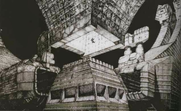 alien Chris Foss pyramid birth temple interior